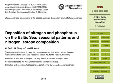 Deposition of Nitrogen and Phosphorus on... by Rolff, C.