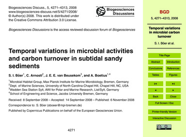Temporal Variations in Microbial Activit... by Böer, S. I.