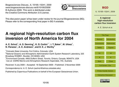 A Regional High-resolution Carbon Flux I... by Schuh, A. E.