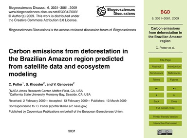 Carbon Emissions from Deforestation in t... by Potter, C.