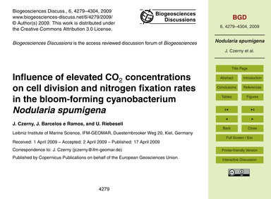 Influence of Elevated Co2 Concentrations... by Czerny, J.