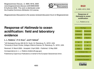 Response of Halimeda to Ocean Acidificat... by Robbins, L. L.
