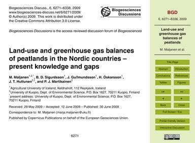 Land-use and Greenhouse Gas Balances of ... by Maljanen, M.