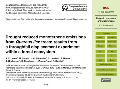 Drought Reduced Monoterpene Emissions fr... by Lavoir, A. V.