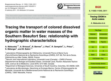 Tracing the Transport of Colored Dissolv... by Matsuoka, A.