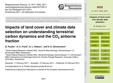Impacts of Land Cover and Climate Data S... by Poulter, B.