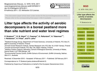 Litter Type Affects the Activity of Aero... by Straková, P.