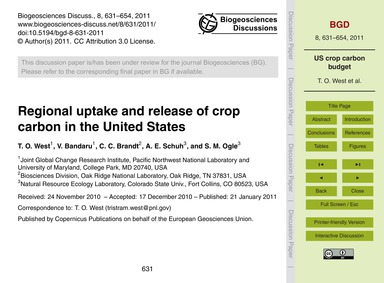 Regional Uptake and Release of Crop Carb... by West, T. O.