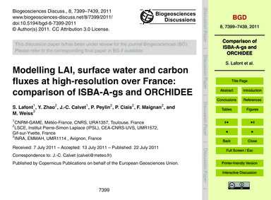 Modelling Lai, Surface Water and Carbon ... by Lafont, S.