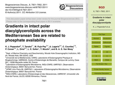 Gradients in Intact Polar Diacylglycerol... by Popendorf, K. J.