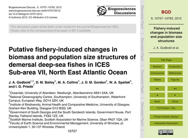 Putative Fishery-induced Changes in Biom... by Godbold, J. A.
