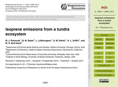 Isoprene Emissions from a Tundra Ecosyst... by Potosnak, M. J.