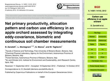 Net Primary Productivity, Allocation Pat... by Zanotelli, D.