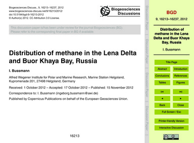 Distribution of Methane in the Lena Delt... by Bussmann, I.