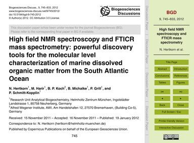 High Field Nmr Spectroscopy and Fticr Ma... by Hertkorn, N.
