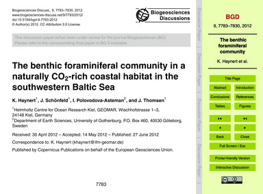 The Benthic Foraminiferal Community in a... by Haynert, K.