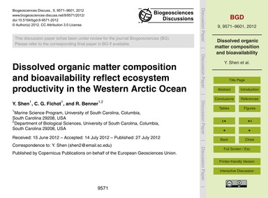 Dissolved Organic Matter Composition and... by Shen, Y.