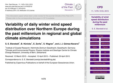 Variability of Daily Winter Wind Speed D... by Bierstedt, S. E.
