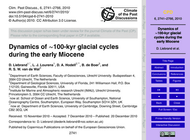 Dynamics of ~100-kyr Glacial Cycles Duri... by Liebrand, D.