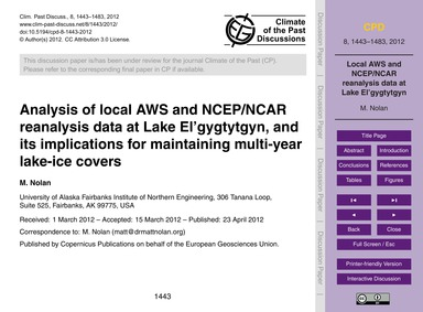 Analysis of Local Aws and Ncep/Ncar Rean... by Nolan, M.