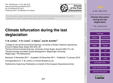 Climate Bifurcation During the Last Degl... by Lenton, T. M.