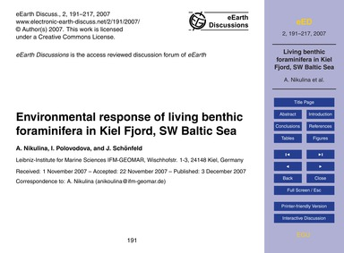 Environmental Response of Living Benthic... by Nikulina, A.