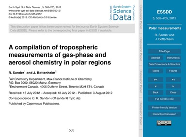 A Compilation of Tropospheric Measuremen... by Sander, R.