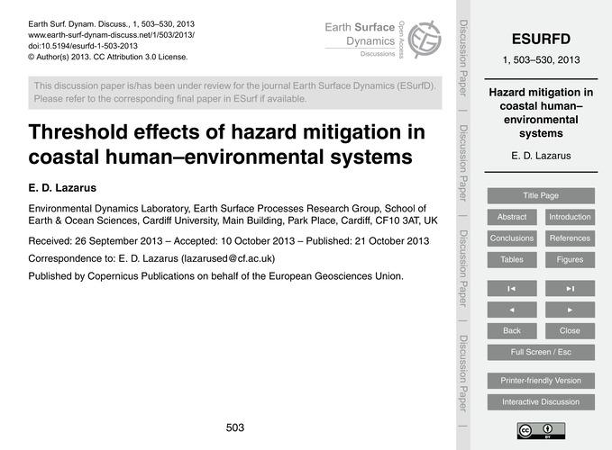 Threshold Effects of Hazard Mitigation i... by Lazarus, E. D.