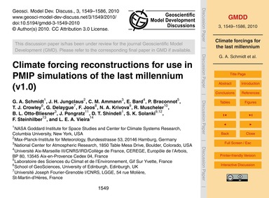 Climate Forcing Reconstructions for Use ... by Schmidt, G. A.