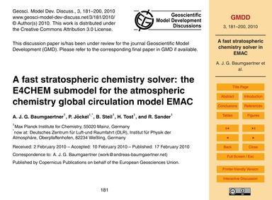 A Fast Stratospheric Chemistry Solver: t... by Baumgaertner, A. J. G.