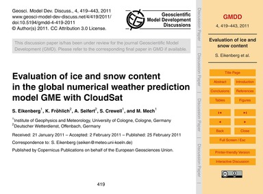 Evaluation of Ice and Snow Content in th... by Eikenberg, S.