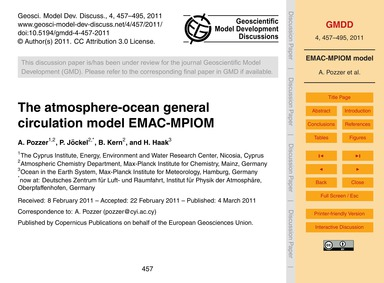 The Atmosphere-ocean General Circulation... by Pozzer, A.
