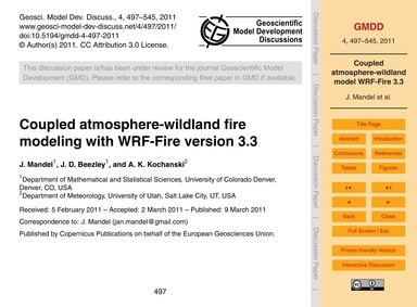 Coupled Atmosphere-wildland Fire Modelin... by Mandel, J.