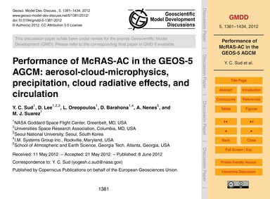 Performance of McRas-ac in the Geos-5 Ag... by Sud, Y. C.