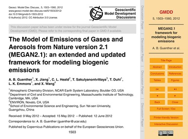 The Model of Emissions of Gases and Aero... by Guenther, A. B.