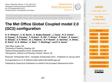 The Met Office Global Coupled Model 2.0 ... by Williams, K. D.