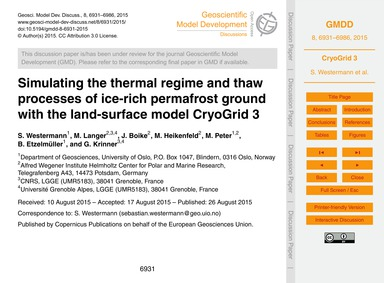 Simulating the Thermal Regime and Thaw P... by Westermann, S.
