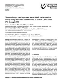 Climate Change, Growing Season Water Def... by Sun, P.