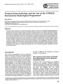 Tropical Forest Hydrology and the Role o... by Bonell, M.