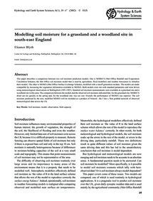 Modelling Soil Moisture for a Grassland ... by Blyth, E.