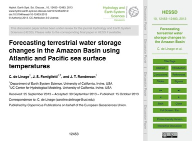 Forecasting Terrestrial Water Storage Ch... by De Linage, C.