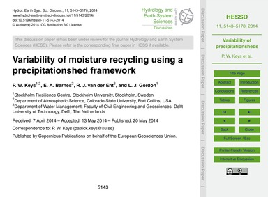 Variability of Moisture Recycling Using ... by Keys, P. W.
