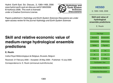 Skill and Relative Economic Value of Med... by Roulin, E.