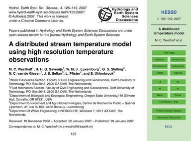 A Distributed Stream Temperature Model U... by Westhoff, M. C.