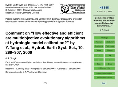 Comment on How Effective and Efficient A... by Vrugt, J. A.