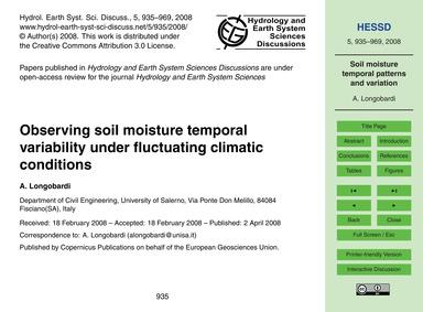 Observing Soil Moisture Temporal Variabi... by Longobardi, A.