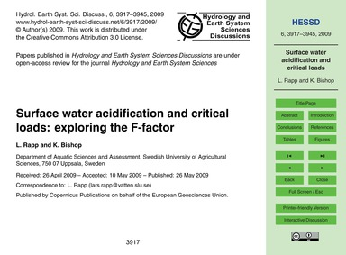 Surface Water Acidification and Critical... by Rapp, L.