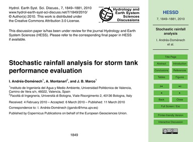 Stochastic Rainfall Analysis for Storm T... by Andrés-doménech, I.