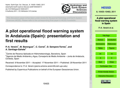 A Pilot Operational Flood Warning System... by Versini, P.-a.