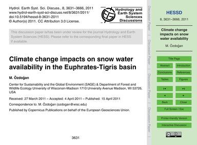 Climate Change Impacts on Snow Water Ava... by Özdoğan, M.